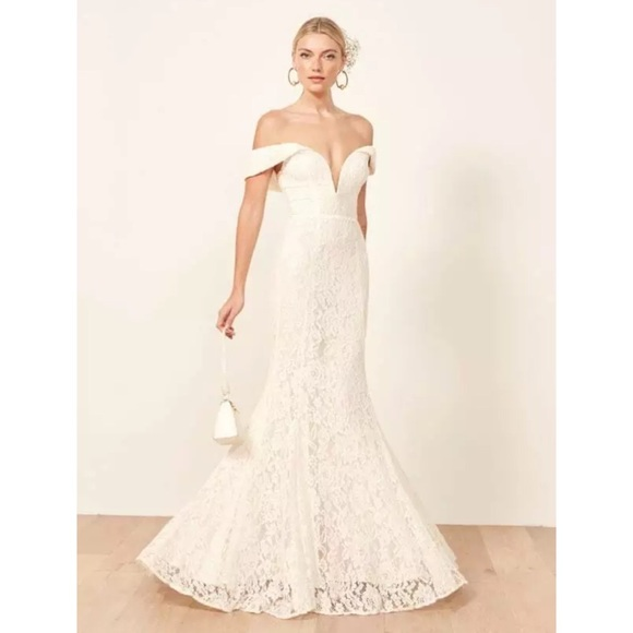 Reformation Mykonos lace wedding gown